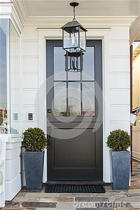 House Plans With Front Porch Black Front Door Framed By Plants Stock Photo Image