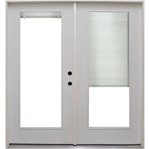 Patio Door Mini Blinds Steves Sons 71 In X 79 1 2 In Premium Lite Low E Mini Blind Primed White Steel Patio