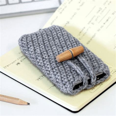 handmade wool phone with toggle button by toggle