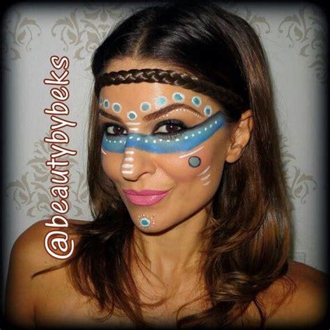 tribal pattern face paint tribal makeup pocahontas halloween makeup halloween