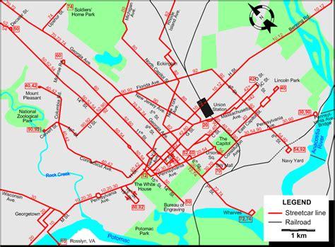 washington dc tram map washington 1946