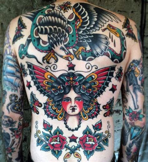 tattoo old school back 50 traditional back tattoo design ideas for men old
