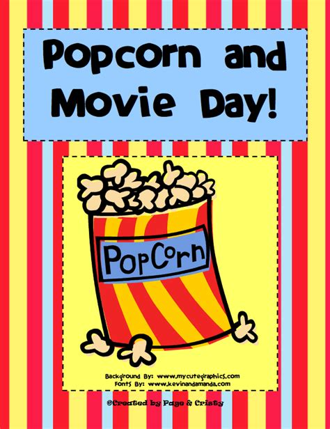 film one day ending free misc lesson popcorn and movie day theme days for
