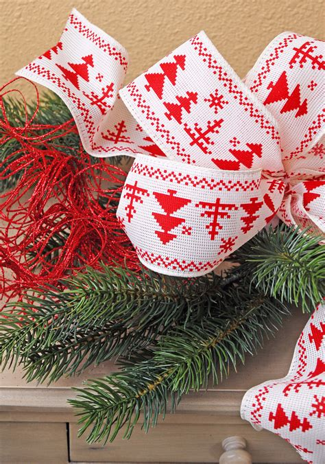 christmas ribbon fair isle trees wired ribbon 2 5in x 24ft