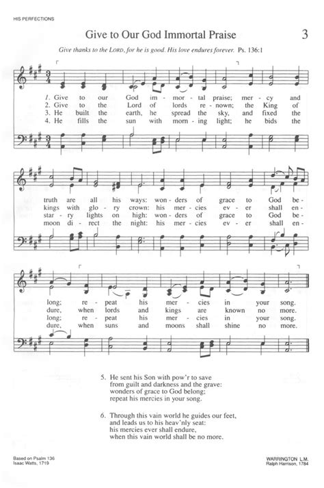 Trinity Hymnal (Rev. ed.) 3. Give to our God immortal