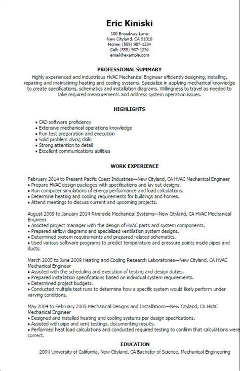 Professional Hvac Mechanical Engineer Templates to