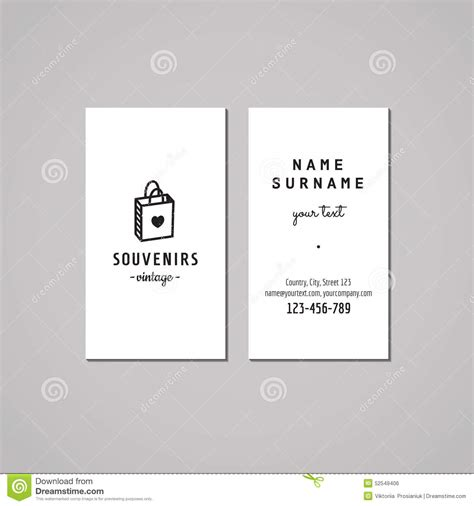 Gift Shop Business Card - gift shop and souvenirs business card design concept gift shop logo with gift bag