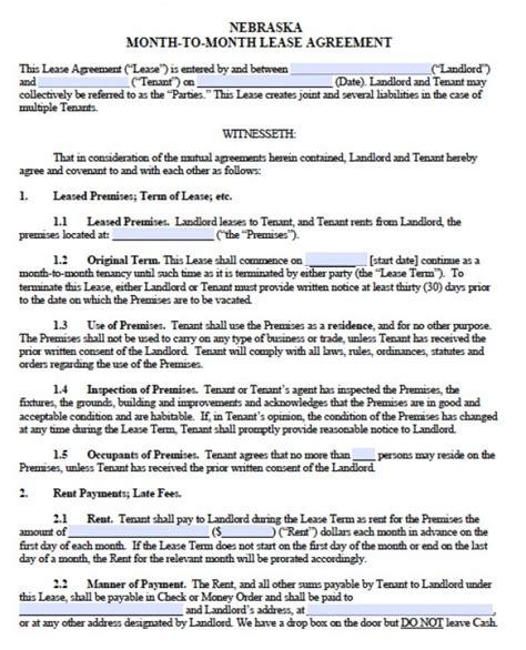 Farm Lease Termination Letter Nebraska free nebraska month to month lease agreement pdf word
