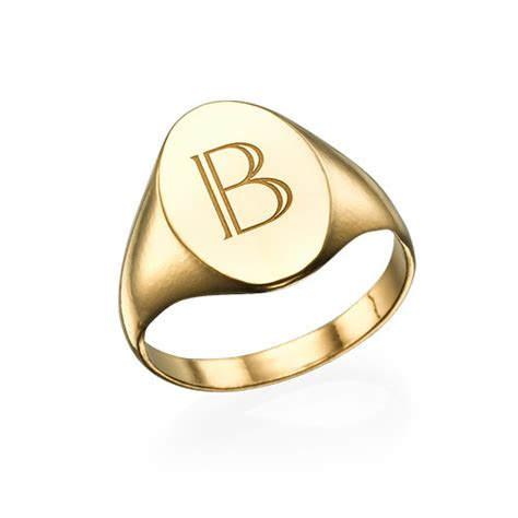 initial signet ring 18k gold plated mynamenecklace