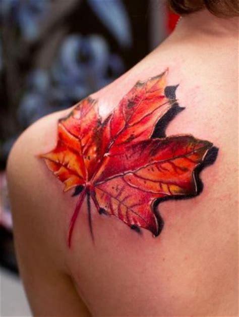 tattoo 3d color color maple leaf 3d tattoo on back shoulder tattooshunt com