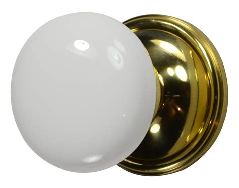 Porcelain Door Knobs by White Porcelain Door Knob Polished Brass Plate
