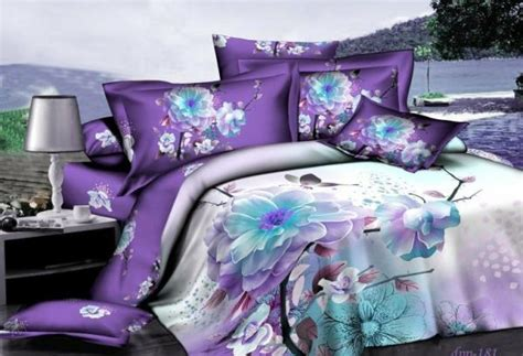 purple blue floral flower bedding comforter set for queen