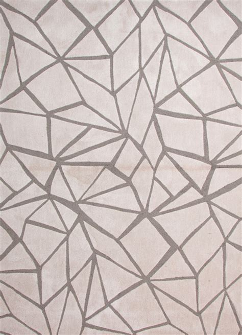 Geometric Design Rugs by Modern Geometric Pattern Ivory White Polyester Tufted Rug