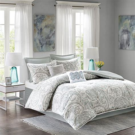 Comfort Spaces Kashmir Comforter Set Comfort Spaces Kashmir Comforter Set 8 Paisley Pattern Blue Grey King Size