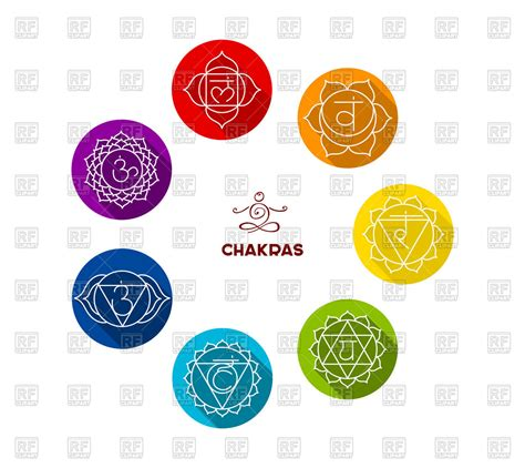 Colorful Set colorful set of chakras buddhism symbol royalty free vector clip image 50980 rfclipart