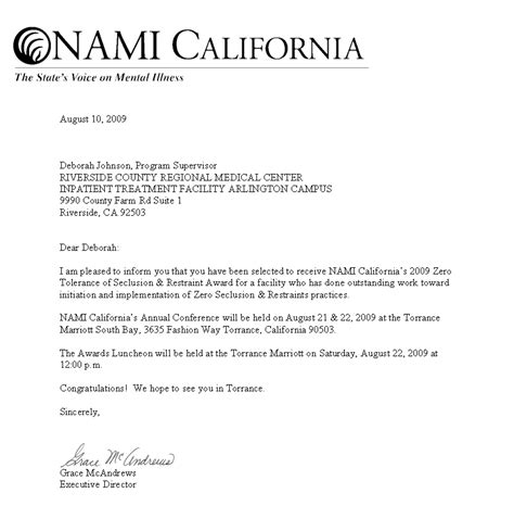 What Does An Award Letter Look Like Riverside County Regional Center Wins Nami California S 2009 Zero Tolerance Of Seclusion