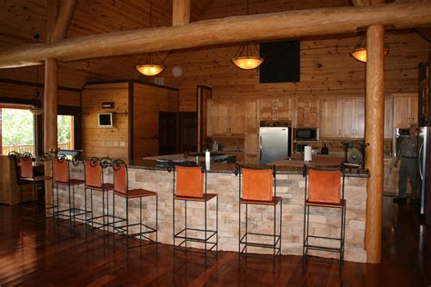 Kitchen Design With Island Flooring Flint River Log Homes