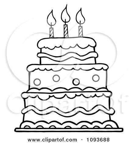 layer cake coloring pages clipart outlined layered birthday cake with three candles