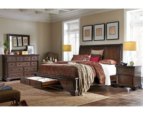 aspenhome bedroom set w sleigh storage bed bancroft asi08