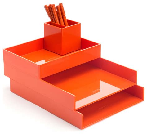 Modern Desk Accessories Set Desktop Set Orange Contemporary Desk Accessories