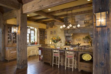 lodge kitchen rustic timber posts wall sconces wood floor beam