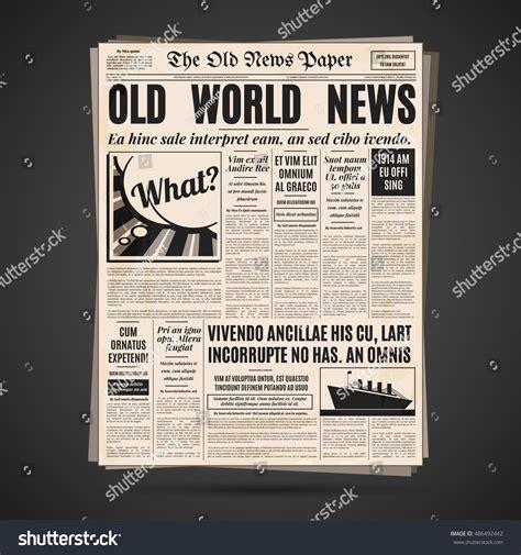newspaper layout font old newspaper vintage design retro vertical stock vector