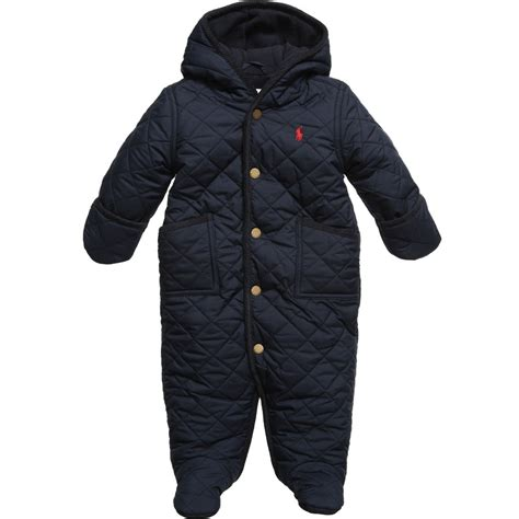 Quilted Snowsuit For Baby by Ralph Baby Boys Navy Blue Quilted Snowsuit