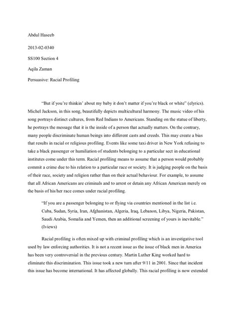 persuasive essay  racial profiling