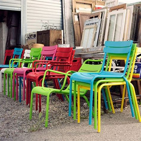 modern colorful metal outdoor chairs and tables from