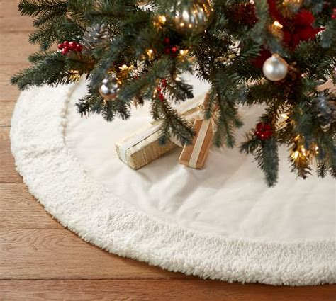 tree skirts ivory velvet tree skirt with faux sheepskin border