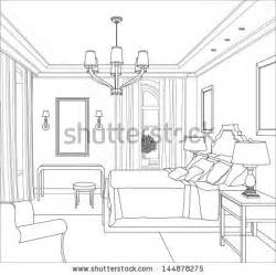how to draw a 3d room editable vector illustration of an outline sketch of a