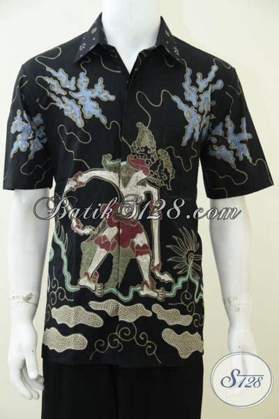 Jual Batik Semata Wayang jual busana batik wayang kemeja batik tulis hitam motif bima untuk pria til gagah