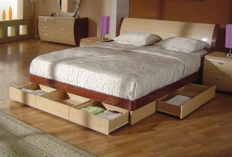 King Size Bed With Drawers by Symphony King Size Modern Platform Bed With Storage