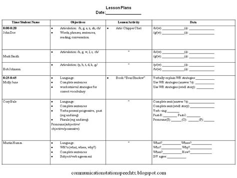 slp lesson plan template communication station speech therapy pllc tip tuesday