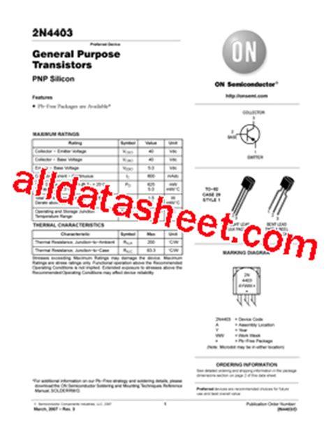 transistor on semi 2n4403 datasheet pdf on semiconductor