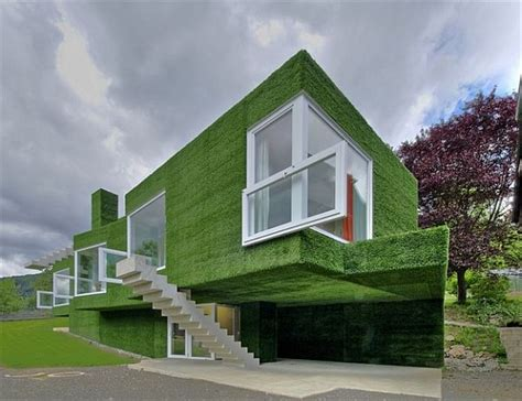 unusual house green facade house in austria