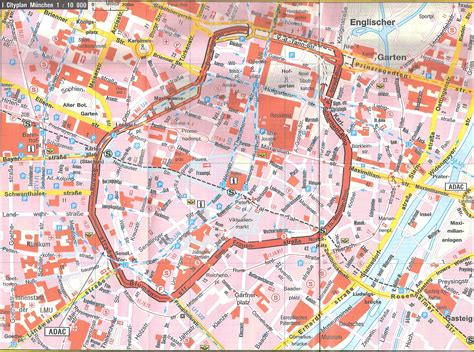 tourist map of central large detailed tourist map of central part of munich city