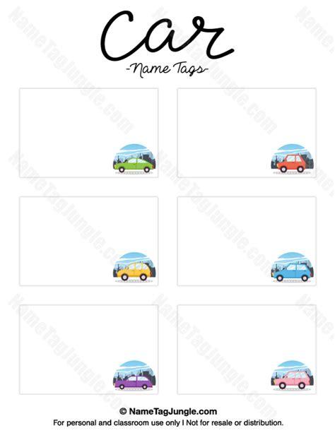 printable car  tags