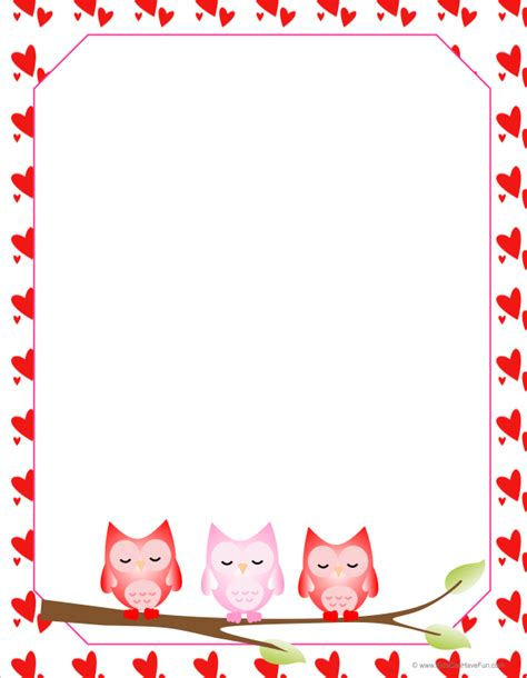 printable owl border paper valentine owls letter paper owl writing paper and planners