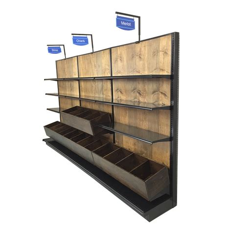 Store Racks by Liquor Store Racks For Wine Wood Gondola Wall Shelving
