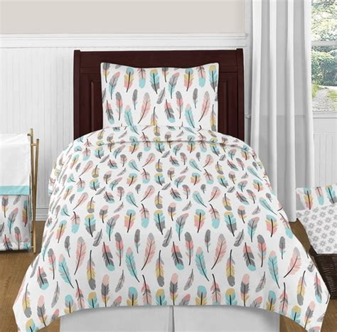 feather bedding set feather 4pc girl twin bedding set by sweet jojo designs