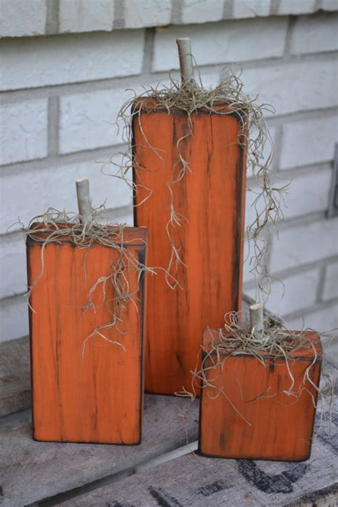 Outdoor Fall Decorating Ideas Yard - fall wood pumpkins set of 3 by allgritsandgrace on etsy