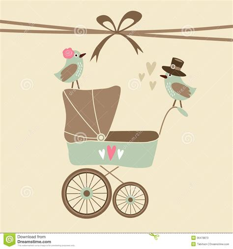 baby carriage template for cards baby shower invitation birthday card with ba stock