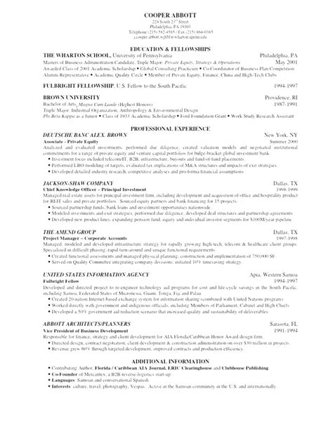 Wharton Mba Finance Major by Professional Wharton School Of Business Resume Template