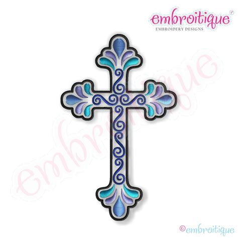embroidery design cross embroitique curly cross 2 embroidery design large