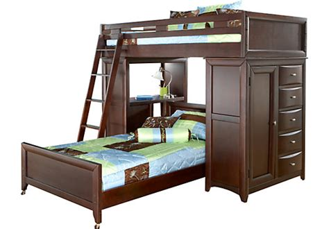 Bunk Bed W Desk League Cherry Student Loft W Desk With Chest Beds