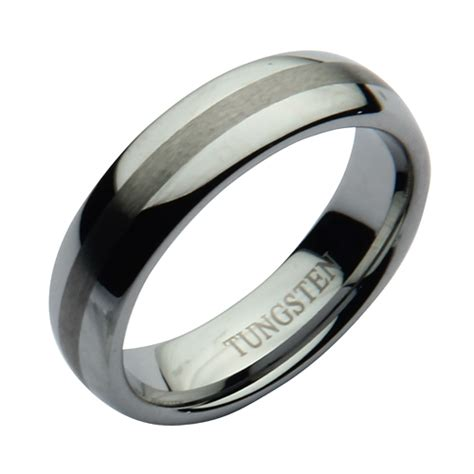 6mm nickel free tungsten two tone matt polished wedding