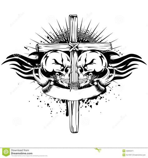 skulls cross tribal stock vector image 42842371