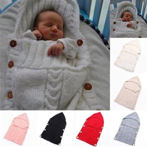 Baby Knitted Sleeping Bag newborn baby infant knit crochet swaddle wrap swaddling