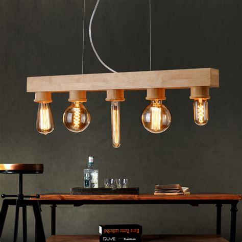 Dining Room Light Fixtures Wood Vintage Wood Wooden Pendant Light 5 Edison Bulbs For